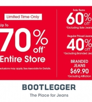 Limited time only! Up to 70% Off Exclusions may apply, see in-store for details.