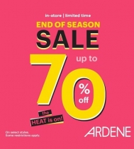 The Heat is On! End of Season Sale, up to 70% Off at Ardene. Some restrictions apply.  #ardenelove