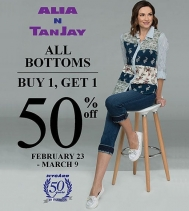 👖All Bottoms👖 Buy 1, Get 1 50% Off at Alia N TanJay from Feb 23rd - Mar. 9th.  See in store for details. #bogo