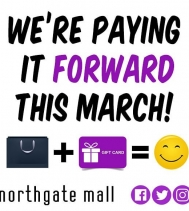 WE'RE PAYING IT FORWARD THIS MARCH!! ➡️ Throughout the month of March shop Northgate Mall and your Shopping Purchase 🛍 could be GIFTED 🙌 to you at Random!! 😀 #PayingItForward #giveaways #yqr #shopping