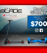 For the month of March, Showcase is giving away a $700 Gravity Blade Prize Pack!! 🎉👏 The contest is open to all Showcase customers. See in store for details. #giveaways #showcase