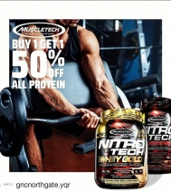 GNC in Northgate Mall has an AMAZING DEAL on MuscleTech Protein this weekend!! STOCK UP on your Protein! Until March 30th: BUY ONE, GET ONE 50% OFF - MIX & MATCH your favorite @muscletech PROTEIN!! #GNCNORTHGATE #sale