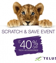 Everyone's a WINNER with Scratch & Save! 🙏 Visit Telus for your chance to get up to 40% Off tech accessories! 😀📱Act fast offer ends April 17th. Conditions Apply. #scratchandsave #techaccessories