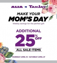 Make your Mom's Day!! 🌹🌷 Save additional 25% Off all Sale Items at Alia N TanJay! #MothersDay #savings #shopping