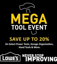 Mega savings for Lowe's 🛠MEGA TOOL EVENT 🛠 Save 20% on select power tools, hand tools & more!! Offer valid through April 24, 2019. Exclusions apply. See in store for details. #tools #savings #lowescanada
