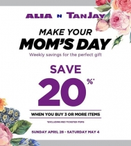 Make your Mom's Day! Save 20% Off when you Buy 3 or More Items at Alia N TanJay. *Excluding red ticketed items.  #sale #shopping #MothersDay