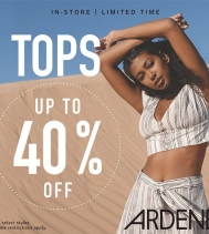 Up to 40% off on Tops! Limited time only. See in store for details. #ardene #tops