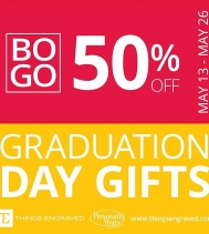 Visit Things Engraved until May 26th for their Graduation deals with BOGO 50% OFF (second gift must be of equal or lesser value). Buy gifts that can be customized for your 2019 Grad!! 👨🎓👩🎓 #EngravedGifts #customgifts  #Grad2019
