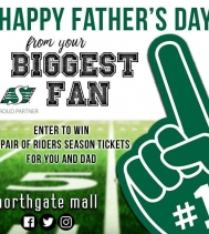 Celebrate Dad with the ULTIMATE Father's Day Gift!!! 🏈 💚 🏈 Visit northgatemall.ca or our Facebook page for your chance to WIN a pair of RIDERS SEASON TICKETS FOR YOU & DAD!! #fathersday #yqr #ridernation #giveaway #BiggestFan