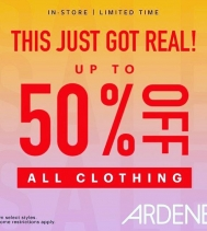 Up to 50% Off ALL Clothing! 👚👕 Select Styles / Restrictions Apply  @ardenenorthgate ...ends Oct.7