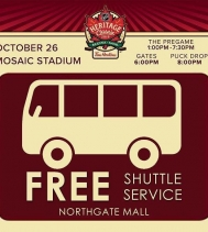 Shuttle Service starts at 5:45pm-7:45pm LIMITED PARKING AVAILABLE.  Thank you for your patience during our parking lot construction project.