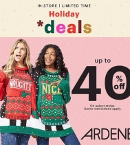 Holiday deals at Ardene! Save up to 40% off on amazing styles. Some restrictions apply. #ardenelove