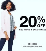 We love a good deal! 😬  Refresh your wardrobe with @rickisfashion! For a limited time, take 20% Off regular price & sales styles! Ends Feb.11