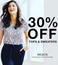 Take 30% Off Tops & Sweaters @rickisfashion  Ends Mar.16